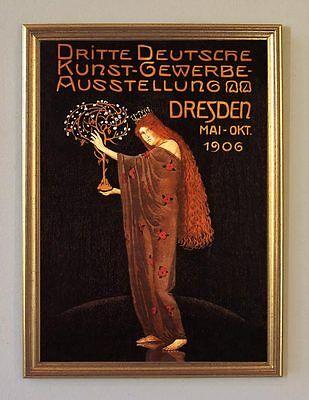 3. Kunst- Gewerbe- Ausstellung Dresden 1906 Plakat Faksimile 115 im Goldrahmen