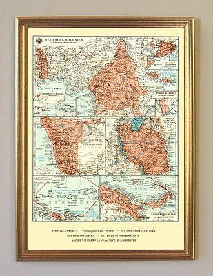 Deutsche Kolonien Togo Kamerun Südsee Karte Faksimile 14 im Goldrahmen 30x42cm