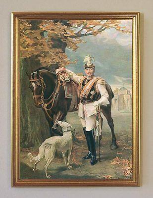 Kaiser Wilhelm II Reiter Pferd Hund Uniform 1911 Büttenfaksimile 3 im Goldrahmen