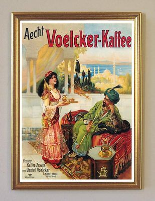 Voelcker Kaffee Lahr Baden Plakat Faksimile auf Büttenpapier 78 im Goldrahmen