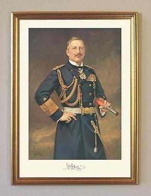 Kaiser Wilhelm II. Dt. Kaiserreich Marine Uniform Fernglas Faksimile 4 im Rahmen
