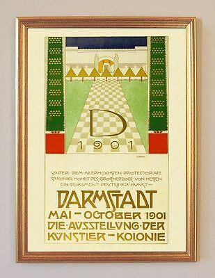 Darmstadt Künstlerkolonie Plakat um 1901  Büttenfaksimile 106 im Goldrahmen