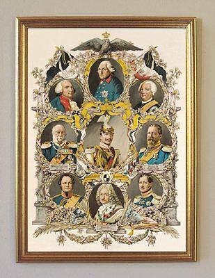 Kaiser Wilhelm II. Friedrich I. HohenzollernAhnentafel Faksimile 6 im Goldrahmen