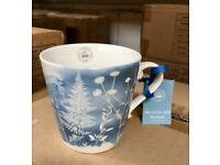 Set of 12 Royal Botanic Gardens, Light Blue Kew Watercolour Meadow Floral-Printed Fine China Mugs