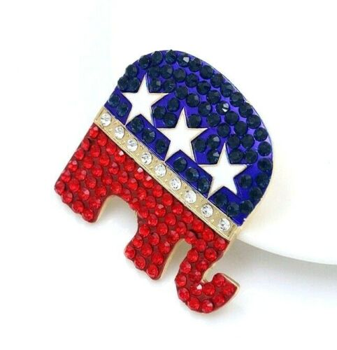 """Republican Party Elephant Symbol """"Grand Old Party"""" Rhinestone Pin, Trump GOP Pin"""