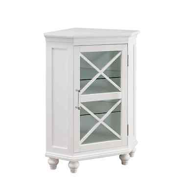 Bathroom Floor Cabinet with Door White Corner Storage Curio Glass Display Small