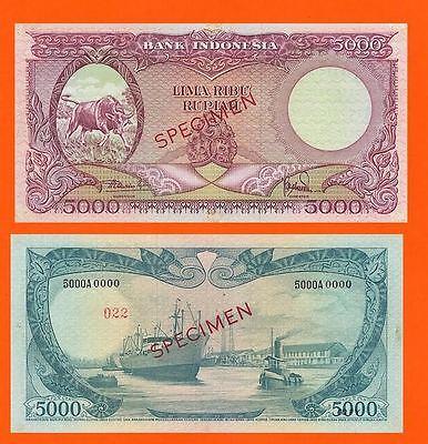 Indonesia 5000  Rupiah 1957.  UNC - Reproductions