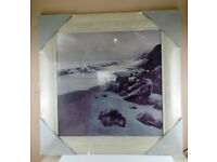 natural pinewood framed picture, black and white seascape, new in wrapping, 79x79 cm