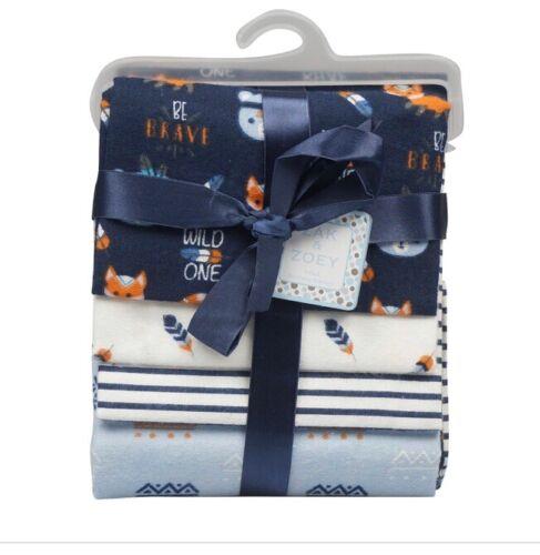 4 Pack Receiving Blankets For Newborns Navy Blue Fox Cotton
