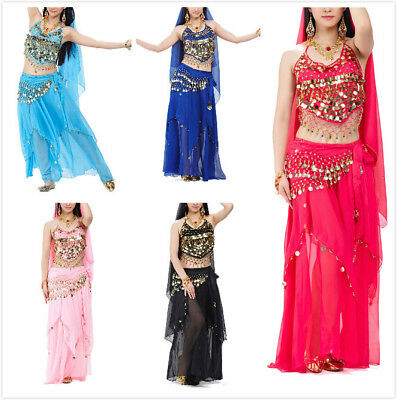BellyLady Belly Dance Costume Set 1x Halter Bra Top, 1x Hip Scarf and 1x Skirt