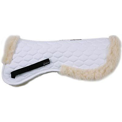 Lined White Tablet - Shires Fleece Lined Half Pad English Pad White Large NEW