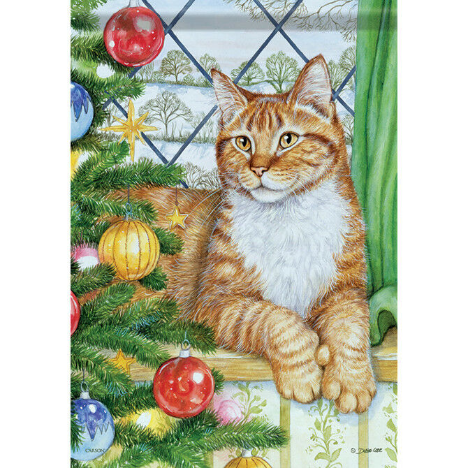 "Christmas Cat House Flag  28"" x 40"" Double sided by Carson"