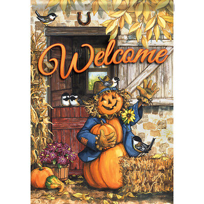 """Fall at the Farm Scarecrow House Flag  28"""" x 40"""" Double sided by Carson"""
