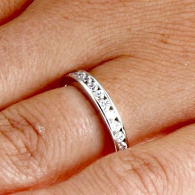 Halo Kids (.925 Sterling Silver Ring CZ Midi Kids Ladies size 3-12 Band Knuckle Bridal)