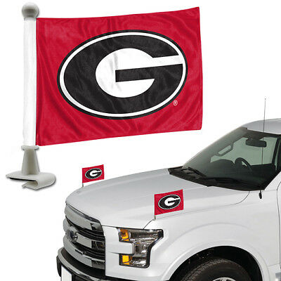 Georgia Bulldogs Set of 2 Ambassador Style Car Flags - Trunk Hood