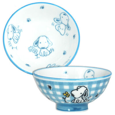 "2 PCS. Japanese 4""D Porcelain Children Rice Bowl Blue Kawaii Dog, Made in Japan"