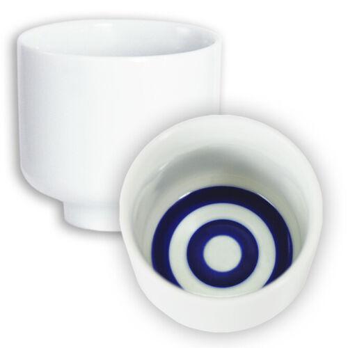 """2 PCS. Japanese 2.25""""H Porcelain """"Bulls Eye"""" Janome Sake Cups, Made in Japan"""