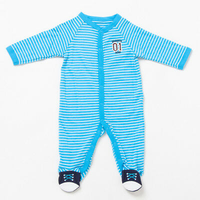 NWT Carters Footed Cotton Sleeper Pajamas Infant Baby boys Blue Striped 3M 9M #1