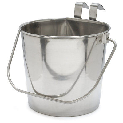 800109 Stainless Steel 6 Quart Flat Sided Food Water Bucket Pail Dog Kennel Farm 6 Quart Stainless Pail