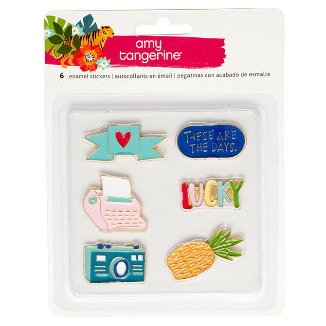 American Crafts Amy Tangerine Hustle /& Heart Enamel Pin Stickers 6 Pieces