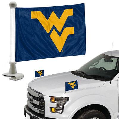 West Virginia Mountaineers Set of 2 Ambassador Style Car Flags - Trunk Hood