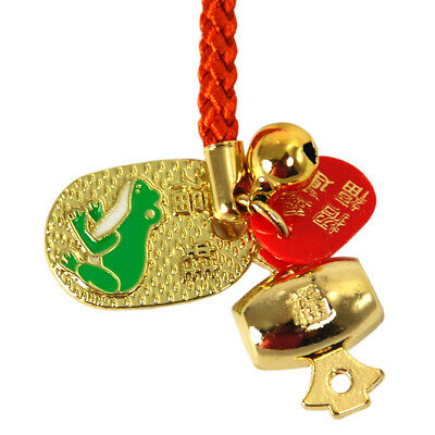 Japanese Metal Gold Coin Lucky Frog Bell Tsuchi Fortune Mallot Netsuke Key Charm