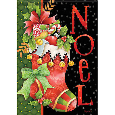 "Noel Stocking House Flag  28"" x 40"" Double sided Christmas winter"