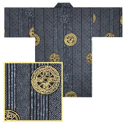 "Japanese 36""l Cotton Happi Coat Kimono Robe Ancient Coin ..."