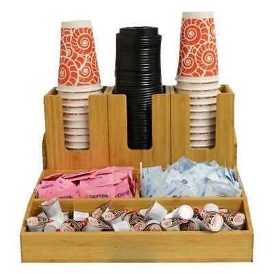6 Section Bamboo Coffee Tea Condiment Display Organizer Server Holder