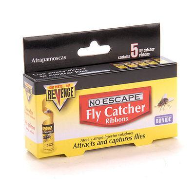 5 Pack Revenge No Escape Fly Catcher Ribbons, Sticky Tape, No Odor, No Poison