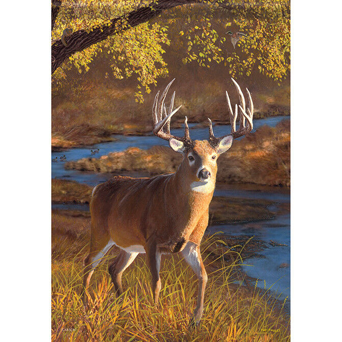 "Sunset Buck Deer House Flag  28"" x 40"" Double sided Flag by"