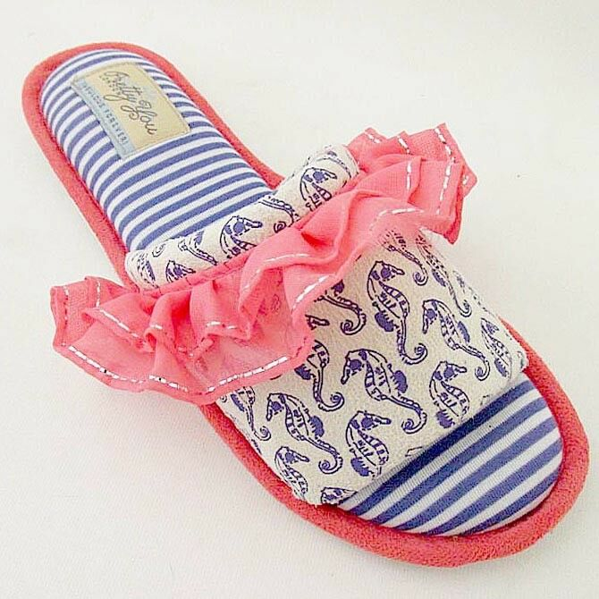 Pretty You London Women's Slippers- Bluebell in Coral 1
