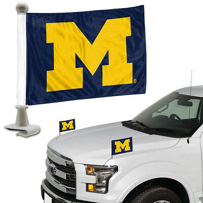 - Michigan Wolverines Set of 2 Ambassador Style Car Flags - Trunk Hood