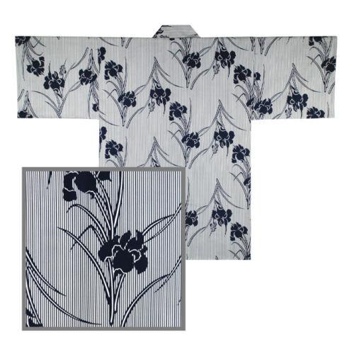 "Japanese HAPPI COAT Robe Sash Belt Women 34"" Cotton Iris Stripes Made in Japan"