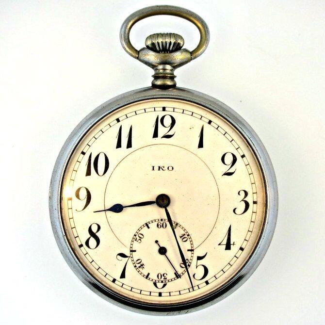 Vintage IKO Jeweled 10s Silver Tone Pocket Watch