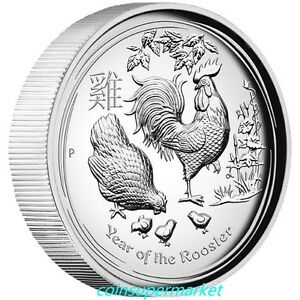 2017 Australia Lunar Year Of Rooster High Relief Proof Silver Coin Perth COA Box
