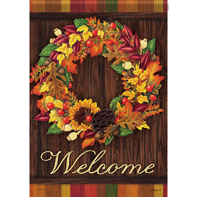"Autumn Wreath Welcome House Flag  28"" x 40"" Double sided by Carson"