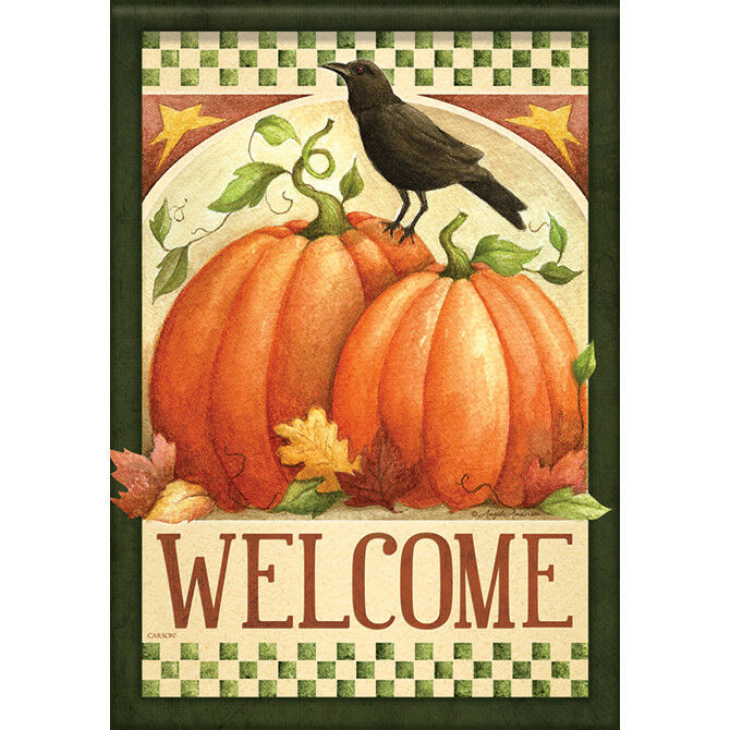 "Primitive Fall Crow Welcome House Flag  28"" x 40"" Double sid"