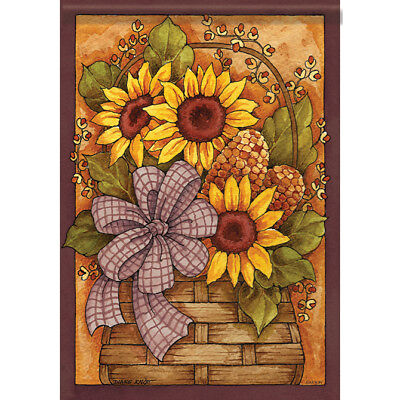 "Fall Flower Basket House Flag  28"" x 40"" Double sided Fall"