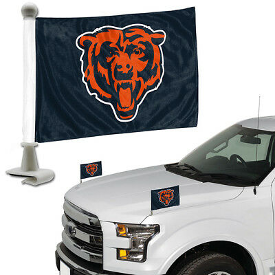 - Chicago Bears Set of 2 Ambassador Style Car Flags - Trunk, Hood