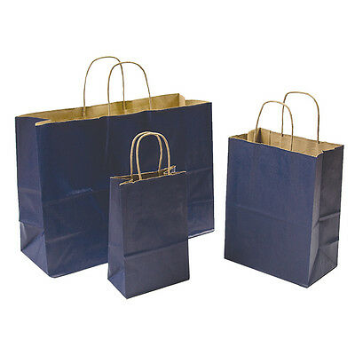 Mixed Pack 3 Sizes Navy Blue Paper Retail Gift Rope Handle Tote Shopping Bags (Navy Blue Gift Bags)