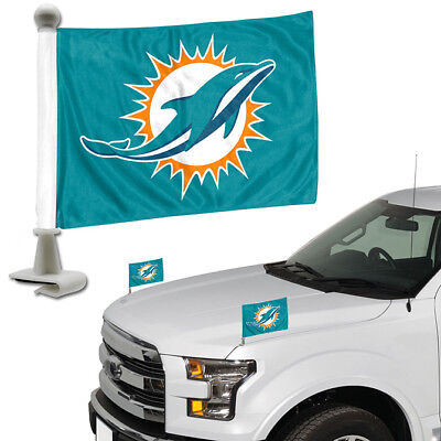 - Miami Dolphins Set of 2 Ambassador Style Car Flags - Trunk, Hood
