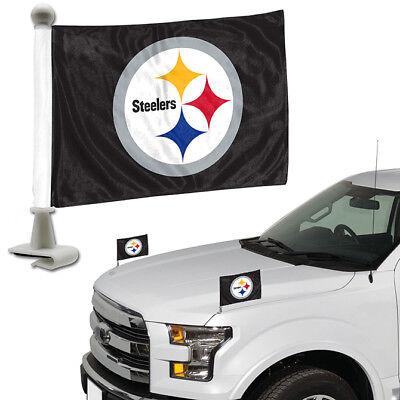 - Pittsburgh Steelers Set of 2 Ambassador Style Car Flags - Trunk, Hood