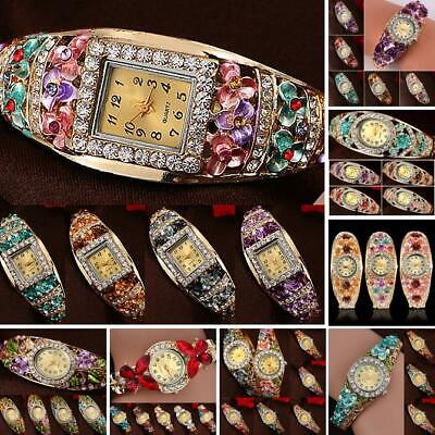 Women Flower Band Hollow Out Bangle Crystal Quartz Bracelet Watch Jewelry Sightl