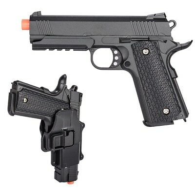FULL SIZE METAL SPRING M1911 AIRSOFT PISTOL HAND GUN w/ HIP HOLSTER 6mm BB - Metal Spring Pistol