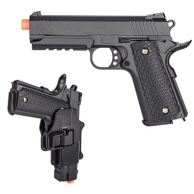 FULL SIZE METAL SPRING M1911 AIRSOFT PISTOL HAND GUN w/ HIP HOLSTER 6mm BB