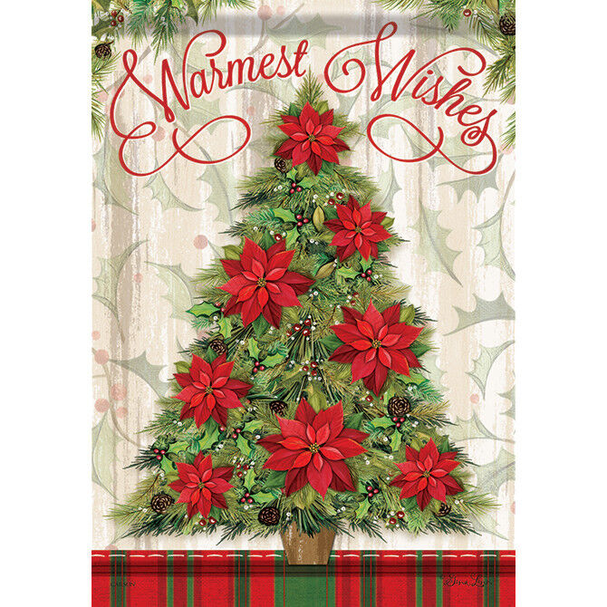 """Warmest Whishes Christmas Tree House Flag  28"""" x 40"""" Double"""