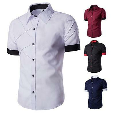 2016 Luxury Men's Slim Fit Dress Shirt Short Sleeve Stylish Casual T-shirts Tops