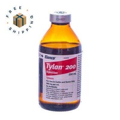 Tylan 200 250ml Antibiotic Injection Cattle Beef Cow Swine Pig Elanco Tylosin