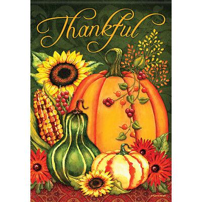 """Harvest Splendor Thankful House Flag  28"""" x 40"""" Double sided Thanksgiving"""